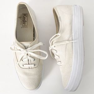 Keds Metallic Gold Triple Up Canvas Sneakers